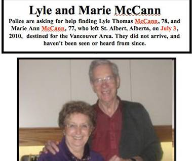 Missing poster for Lyle and Marie McCann.