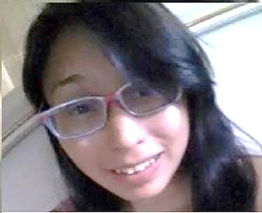 18 year old First Nations female, brown hair, brown eyes, glasses