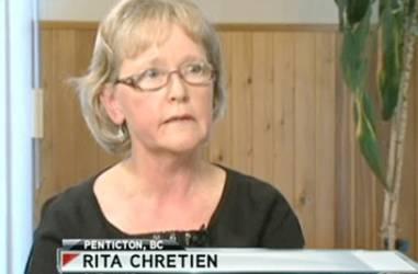 "Penticton's Rita Chretien who was stranded in the Nevada wilderness for weeks and whose husband is still missing spoke with a reporter from Vision TV about her experience. It is to air on the show ""Context"". Frame grab from Vision TV. The Chretien couple got lost on their way to Las Vegas. (for story by Sue Lazaruk)."