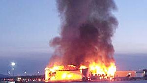 The blaze, which broke out at the Prince George airport, destroyed the Northern Thunderbird Air hangar.