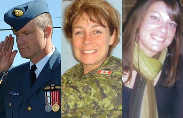 Wing commander Col. Russell Williams (left), 46, was arrested Sunday and is charged with first-degree murder in the deaths of two Ontario women Marie France Comeau (centre), 38 and Jessica Lloyd, 27.